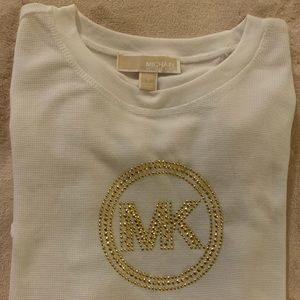 Michael Kors Sz S. Long sleeve white with Gold.
